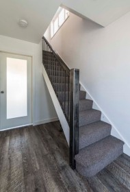 Light, open hallway and stairs