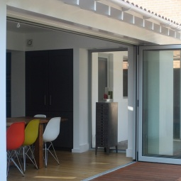 Single storey rear extension with bifold doors and raised deck area