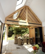 Oak frame with bifold doors.