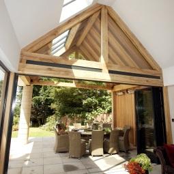 Oak frame with bifold doors.