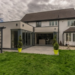 Flat roof extension with bi-fold doors