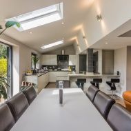 Open plan kitchen living dining with bifold doors in knutsford