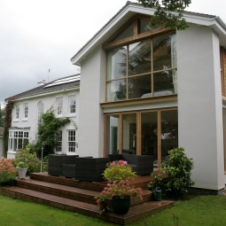 Two Storey rear extension with glazed gable and oak detailing