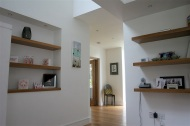 Feature shelving in hallway