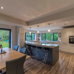 Open plan kitchen living dining room