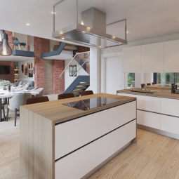 Internal render of open plan living, kitchen and dining room.