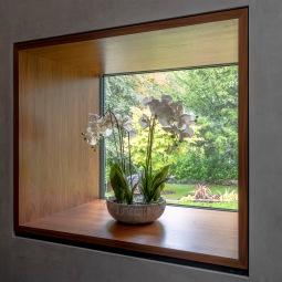 Timber framed window detailing.